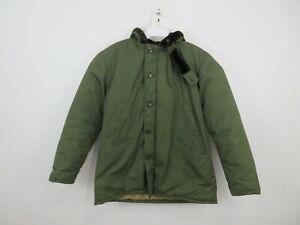 Vintage L.L. Bean Parka Jacket Fur Lined Hooded Green Full Zip Mens Size 42