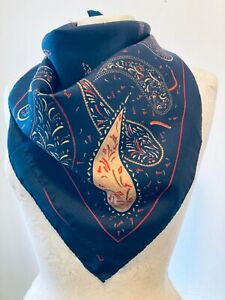 VINTAGE Paisley Women's Blue 80's Polyester Scarf Size 30x30 Inches