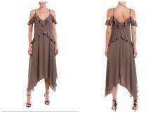 $228 BCBGAaxAzria Lissa Midi Dress BCBG New S Small Beige Cold Shoulder Flutter