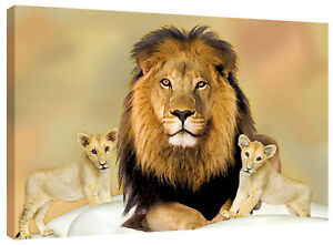 Lion Cubs Canvas Wall Art Picture Print also in Black and White or Sepia