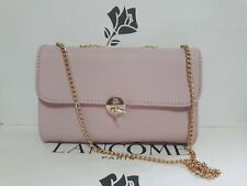 Lancome Stylish Fashion Makeup Bag Chic Clutch Card Holder Golden Chain Pink