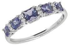 Tanzanite and Diamond Eternity Ring White Gold Size R - Z Appraisal Certificate