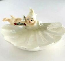Vtg Pixie Angel Baby Mermaid Pearlized Oyster Shell Figural Souvenir Soapdish