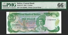 BELIZE $1 Dollar 1983, P-43 Central Bank, PMG 66 EPQ GEM UNC, Pretty QEII Type
