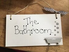 'BATHROOM' Shabby Chic Door Sign Plaque Sign for Toilet or Bathroom The Loo