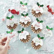CHRISTMAS DAY BADGES x6 -Xmas Pudding Design-Choice of 9 Labels-Novelty Activity