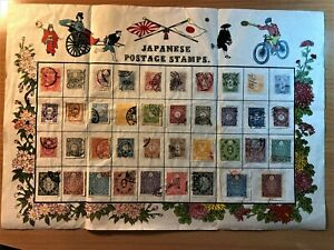 Old Japanese postage stamps on rice paper sheet