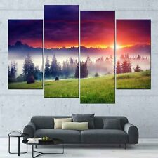 Landscape Wall Art  Red Sun Set on Hilly Modern Mountain Canvas Print Decor 4Pcs