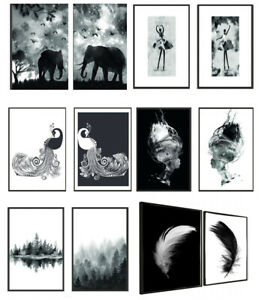 Set of 2 Abstract Wall Art Prints Living Room Bedroom Black White Posters A4