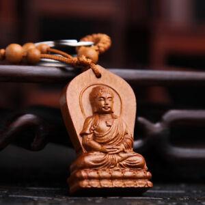 Buddha Shakyamuni Statue Wood Carving Chinese Wooden Pendant Key Chain Keyring