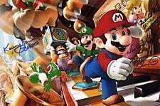 CHARLES MARTINET~SAMANTHA KELLY+1 Signed Super Mario Party 11x17 photo JSA COA
