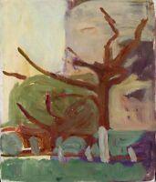 """Russischer Realist Expressionist Öl Leinwand """"Abend"""" 30x25 cm"""