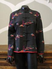CHICOS DESIGN 100% Silk Black Red Chinese Traditional Mandarin Collar Jacket - 0