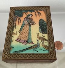 Vintage Wooden w/ Brass Inlay Indian / Egyptian Trinket / Jewerly Box
