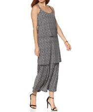 Antthony Basket Weave Draped Dress Round Neck BLACK MULTI M (Medium) NEW 556-853