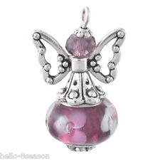 5PC Purple Hand Made Guardian Angel Pendants Flower Beads Wing Jewelry Fashion