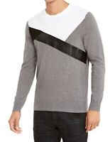 INC Men's Sweater Gray Size 2XL Crewneck Faux-Leather Colorblock $59 #099