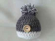 hand crochet newborn pompom hat