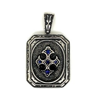 925 Sterling Silver Mens Sapphire Cross Floury Pendant Charm 29 Grams