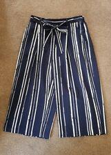 Ladies Debenhams Navy Blue White Stripe Cropped Wide Leg Pull On Trousers UK 12
