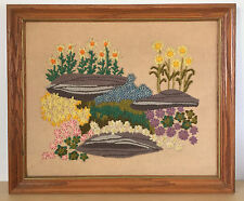 Vintage Framed Handmade Cross Stitched Needlepoint Knitted Floral Flower Picture