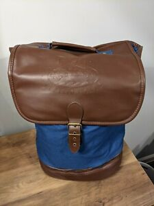 Disney Vacation Club Member Faux Leather Backpack Canvas Tote Bag Blue Brown