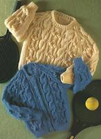 "Baby Aran Cardigan and Sweater Knitting Pattern  Boys Girls 20-28""      179"
