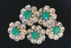set of 5 antique buttons rhinestones+green center 0.75:d pot metal bk self shank