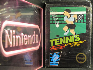 Nintendo NES Tennis CIB Complete Black in Box Near-Mint 5-Screw Hangtab RARE