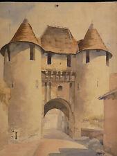 Aquarelle originale 1915 Porte Ville Déols Levroux Indre Châteauroux Valençay