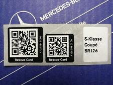 Genuine Mercedes Sticker Rescue Card QR-Code for W126 Coupé
