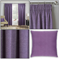 Grape Purple Thermal Matrix Blockout Lined Tape Top Pencil Pleat Curtains Pair