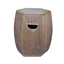 Chinese Hexagon Bamboo Theme Brown Ceramic Clay Garden Stool cs3257