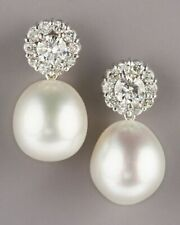 925 Sterling Silver Sparkly Brilliant-cut Round CZ & Pearl Flower Earrings Women