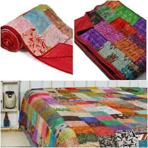 Bohemian Patchwork Silk Kantha Quilt Handmade Vintage Quilts Boho King Size