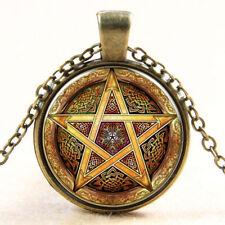 Pentagram Wiccan Cabochon Bronze Glass Chain Pendant Necklace #36