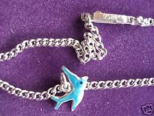 925 STERLING SILVER CURB CHAIN ANKLET REAL ENAMEL BLUE-BIRD DROP 14M