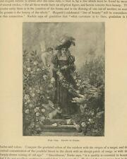 ANTIQUE BEAUTIFUL WOMAN MEDIEVAL COSTUME FLOWERS GARDEN CHEBUBS ANGEL ROSE PRINT