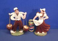 "Vintage Pair Heidi Schoop Hollywood Calif Dutch Boy + Girl Figurines 11"" Tall"