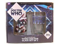 Doctor Who terzo Doctor Vetro Set di 2 Jon pertwee Nuovo Grande Dono 16oz 473ml