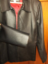 Leather Jacket L Womens 14-16 Lined Black Dress Coat Worthington Classic WC25