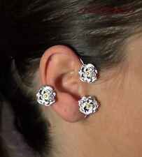 JoliKo Ohrklemme Ohrschmuck Piercing Ear cuff Blumen Rosen mit Perlen RECHTS