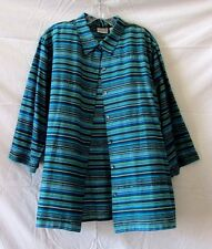 Chico's Size 3 (XL 16-18) Long Sleeved Silk Jewel Tone Embellish Shirt Or Jacket