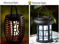 Victorian Morocco Solar Led Flame Effect Garden Light Walkway Decking Lantern