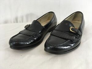Cole Haan Mens 9 1/2 Black Brass Buckle Strap Sheltie Leather Loafer Shoes