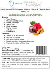 Simply Natural 100% Organic Hibiscus Flower Turmeric Root Herbal Tea 30 Tea Bags