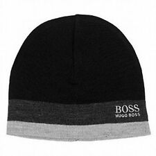 HUGO BOSS 100% AUTH NWT Black Grey Stripe Mens One Size Ciny Beanie HAT SALE Y29