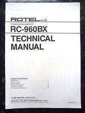 Rotel technique (service) manuel pour stéréo RC-960BX contrôle amplificateur