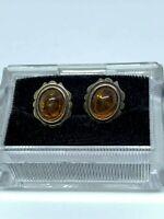 Vintage Estate Amber Sterling Silver Post Earrings