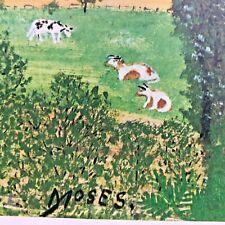 Vintage Grandma Moses Print Hoosick Valley From My Window Folk Art Cow 14x20 BIG